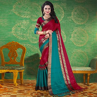 Maroon Colored Festive Wear Blended Cotton Saree