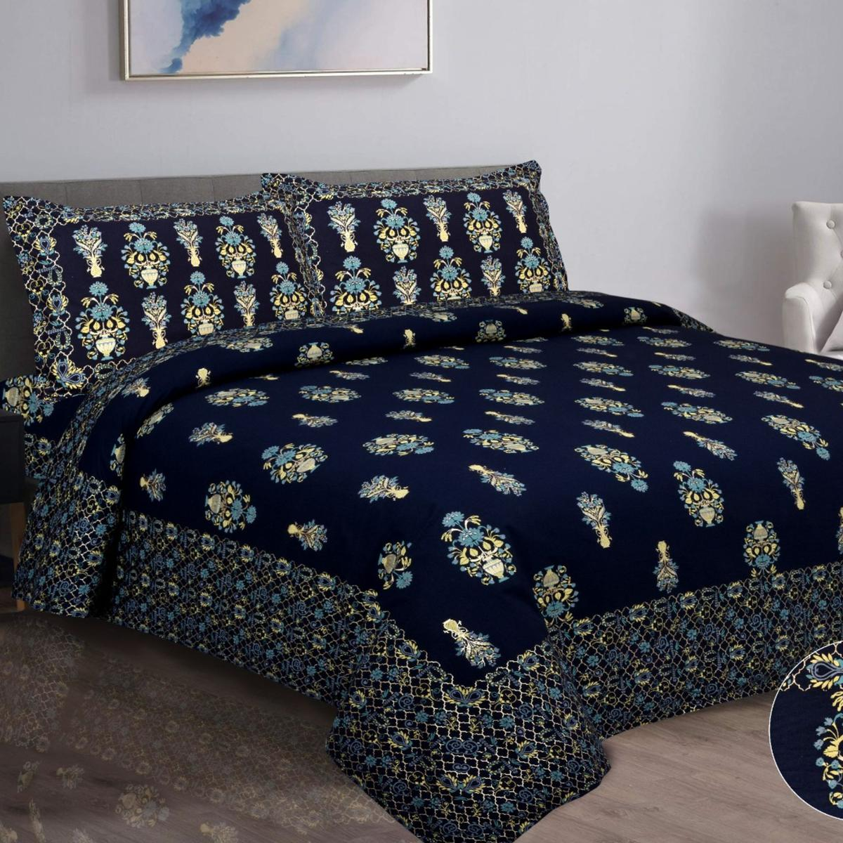 Pooja Fashion - Blue Colored Printed King Cotton Bedsheet With 2 Pillow Cover