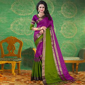 Violet Colored Festive Wear Blended Cotton Saree