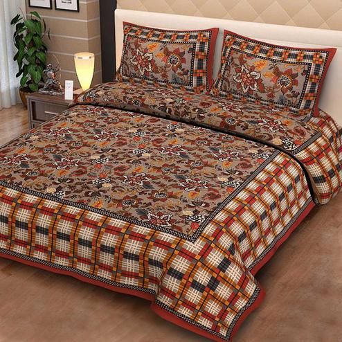 Pooja Fashion - Multicolor Colored Printed King Cotton Bedsheet With 2 Pillow Cover
