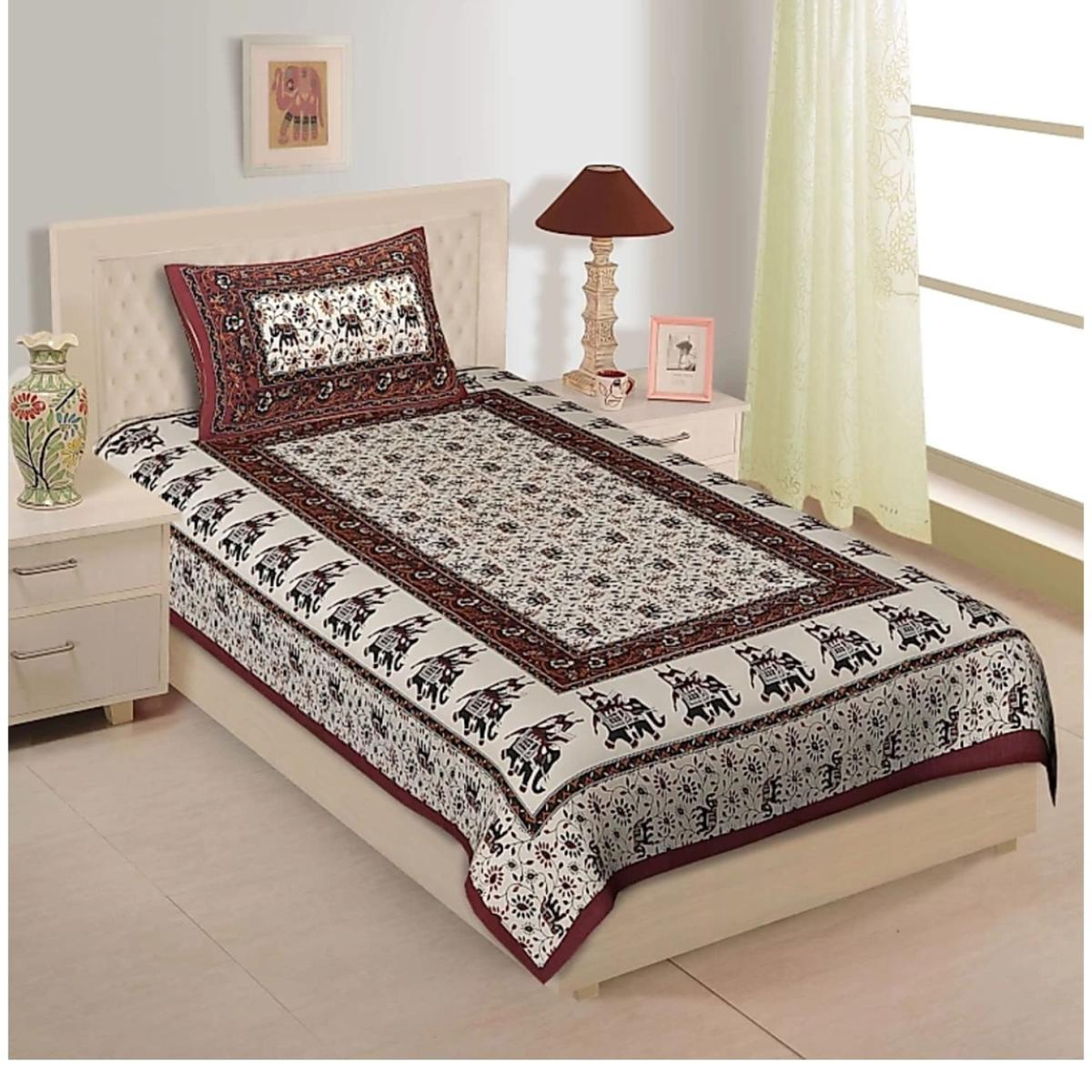 Pooja Fashion - Multicolor Colored Printed Single Cotton Bedsheet With 1 Pillow Cover