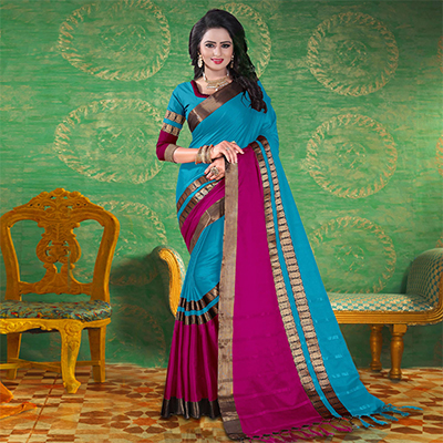 Sea Blue Colored Festive Wear Blended Cotton Saree