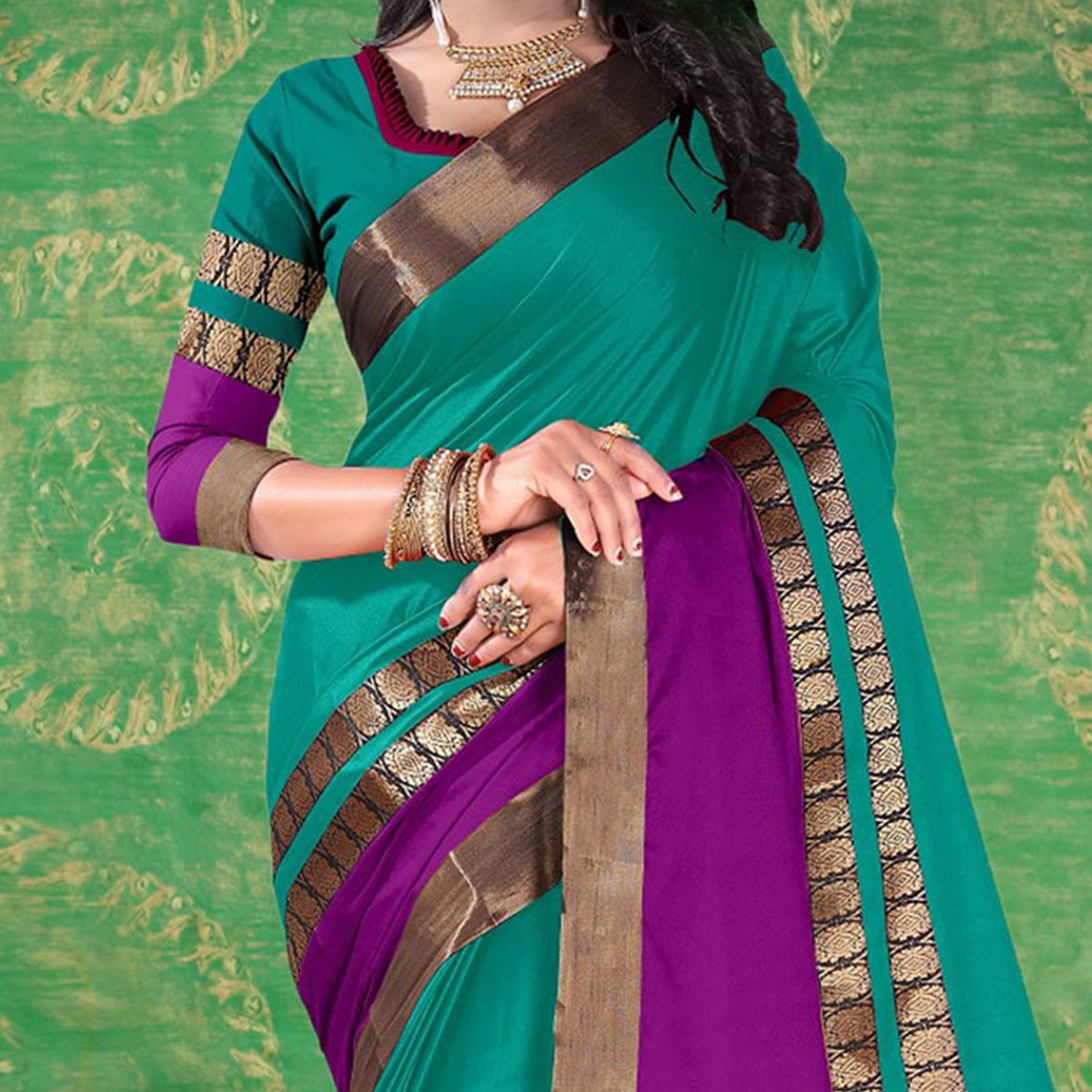 Rama Green Colored Festive Wear Blended Cotton Saree