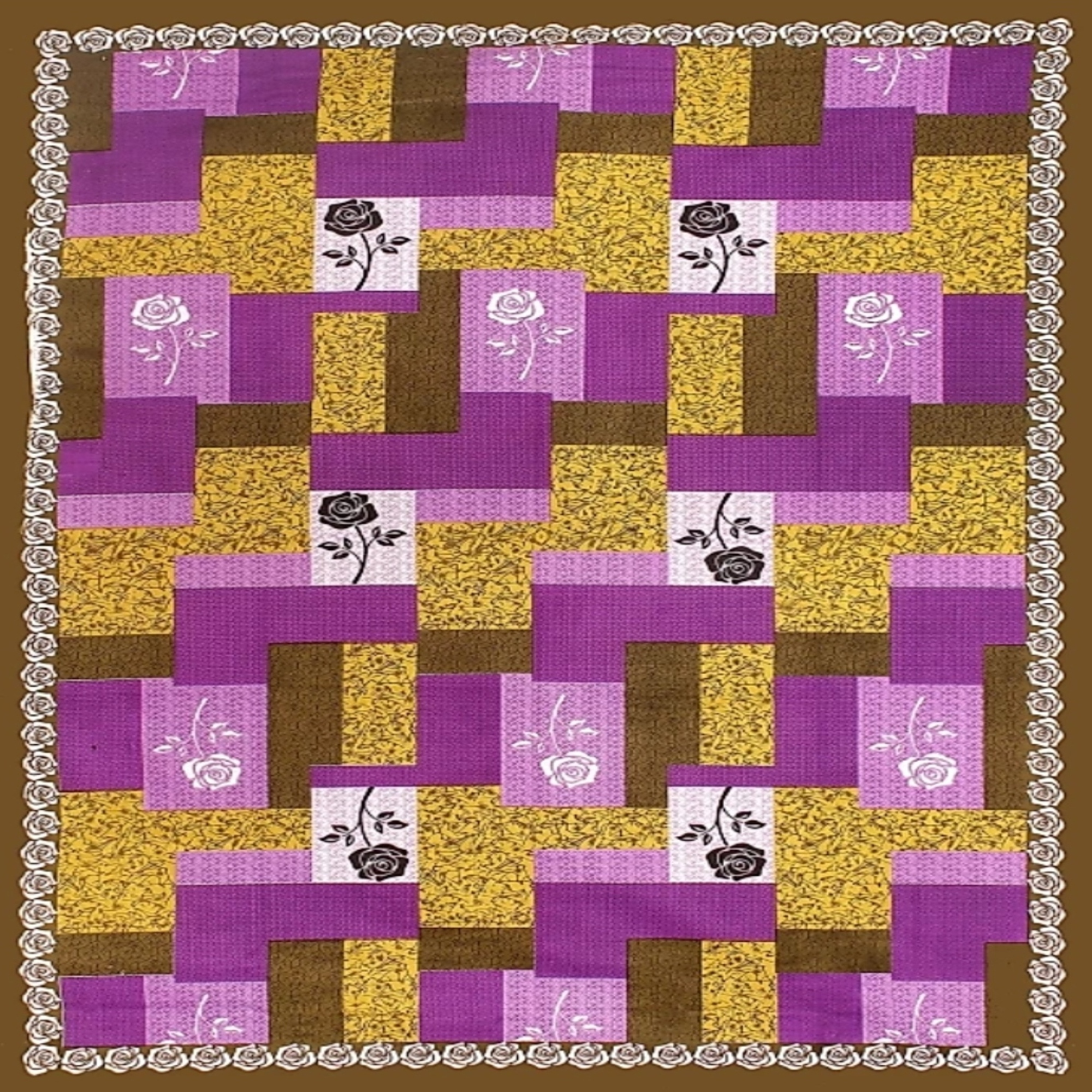 Pooja Fashion - Purple Colored Printed Single Cotton Bedsheet With 1 Pillow Cover