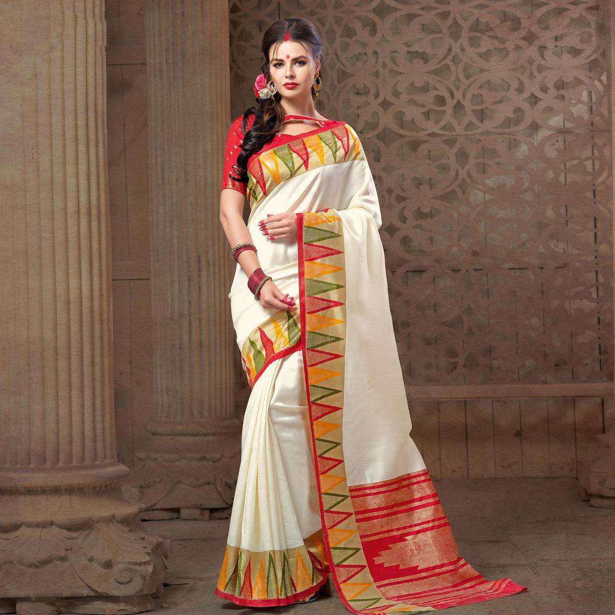 Graceful White Festive Wear Patola Silk Saree