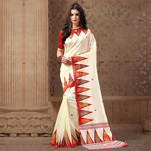 Elegant White Festive Wear Patola Silk Saree