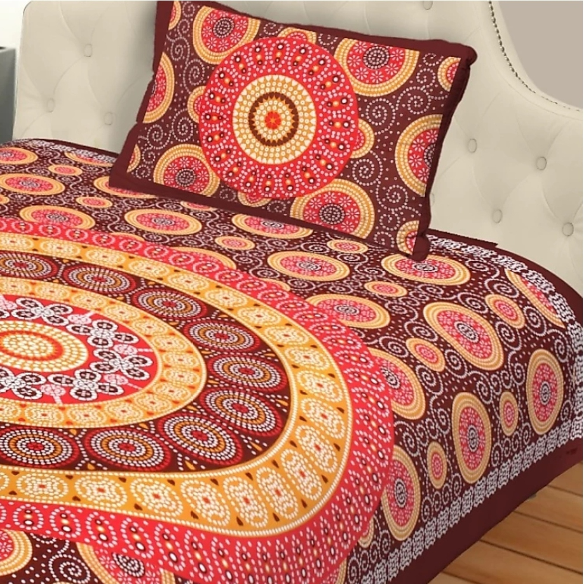 Pooja Fashion - Brown Colored Printed Single Cotton Bedsheet With 1 Pillow Cover