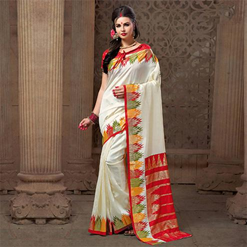 Gorgeous White Festive Wear Patola Silk Saree