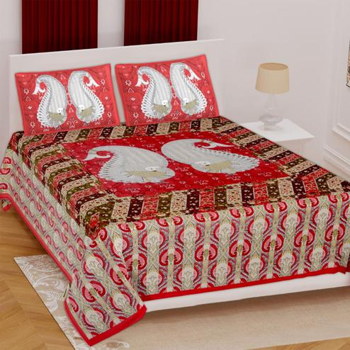 Pooja Fashion - Red Colored Printed Double Cotton Bedsheet With 2 Pillow Cover