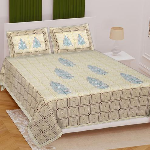 Pooja Fashion - Green Colored Printed Double Cotton Bedsheet With 2 Pillow Cover