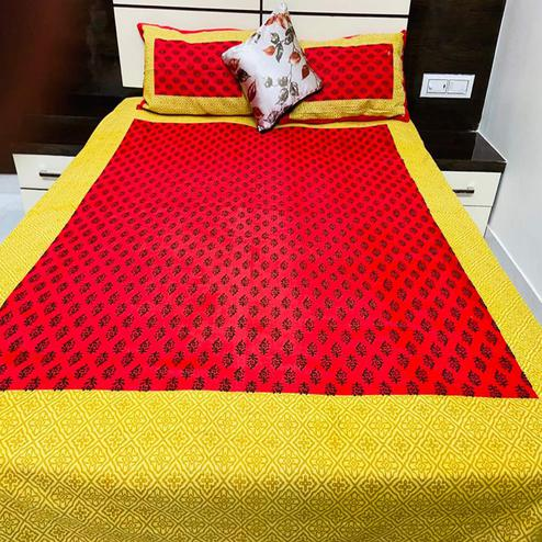 Pooja Fashion - Red Colored Printed Queen Double Cotton Bedsheet With 2 Pillow Cover