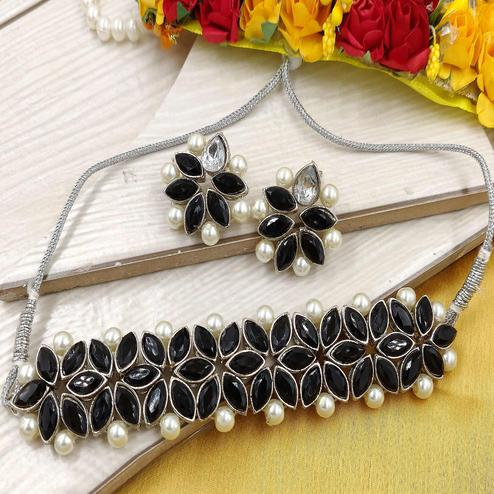 ZaffreCollections - Silver Plated Black Crystal Flower Choker with Earrings for Women & Girls