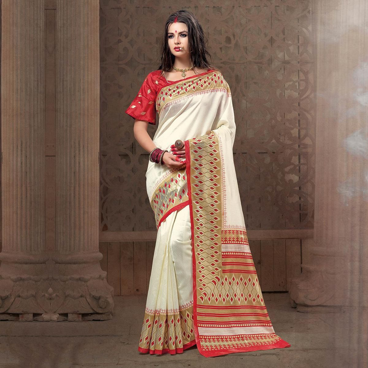 Glorious White Festive Wear Patola Silk Saree