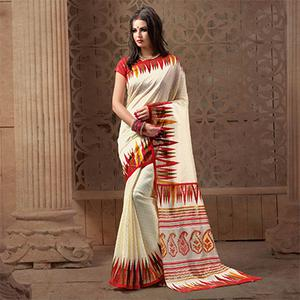 Ravishing White Festive Wear Patola Silk Saree