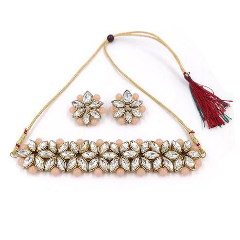 ZaffreCollections - Trending White Flower Choker with Peach Pearls for Women and Girls