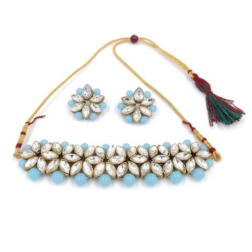 ZaffreCollections - White Flower Choker with Blue Pearls for Women and Girls