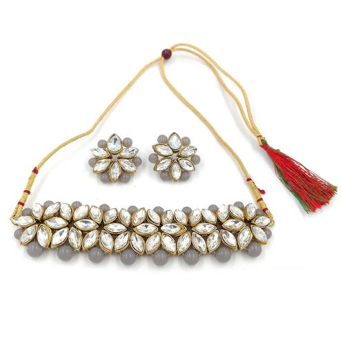 ZaffreCollections - White Flower Choker with Grey Pearls for Women and Girls