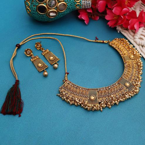 ZaffreCollections - Wedding Wear Gold Choker Set for Women and Girls
