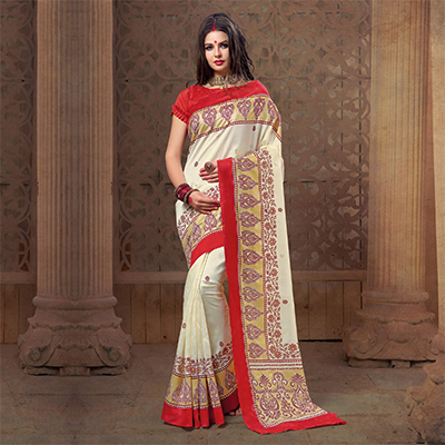 Stunning White Festive Wear Patola Silk Saree
