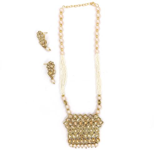 ZaffreCollections - Twinkling Polki Diamond Square Pendant Set for Women and Girls