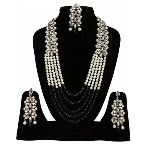 ZaffreCollections - Trending Black Crystal and Pearl Necklace set with Maang Tikka for Women and Girls
