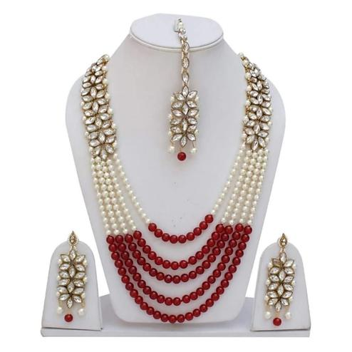 ZaffreCollections - Trending Red Crystal and Pearl Necklace Set with Maang Tikka for Women and Girls