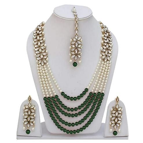 ZaffreCollections - Trending Green Crystal and Pearl Necklace Set with Maang Tikka for Women and Girls