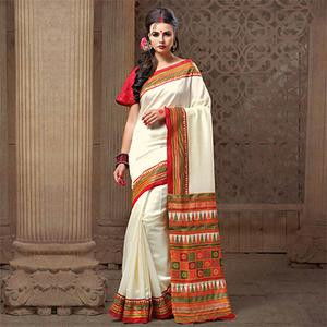 Mesmerising White Festive Wear Patola Silk Saree
