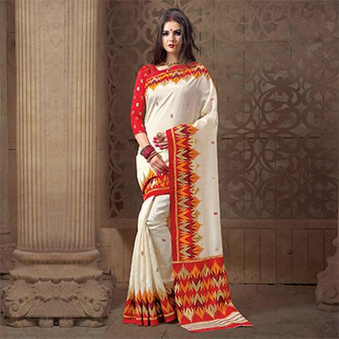 Charming White Festive Wear Patola Silk Saree