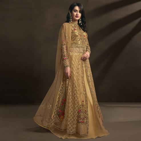 Ideal Beige Colored Embroidered Partywear Net Anarkali Suit