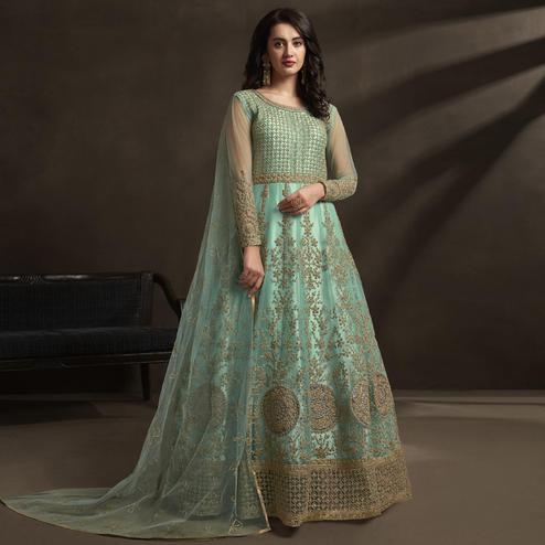 Imposing Blue Colored Embroidered Partywear Net Anarkali Suit