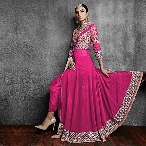 Hot Pink Embroidered Work Georgette Designer Suit