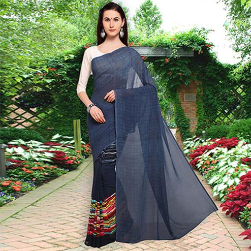 Mesmerising Navy Blue Colored Half N Half Printed Georgette Saree