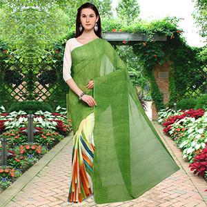 Marvellous Green Colored Half N Half Printed Georgette Saree
