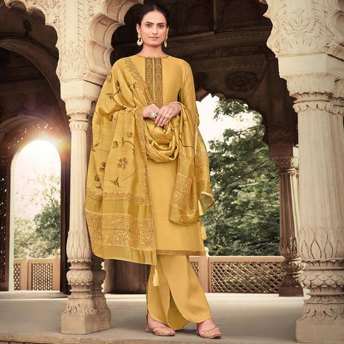 Exotic Mustrad-Yellow Colored Floral Design Party Wear Cotton Silk Suit