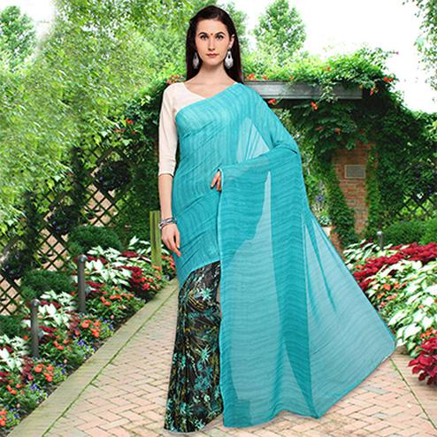 Beautiful Blue Colored Half N Half Printed Georgette Saree