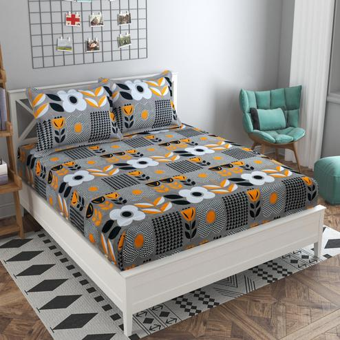 Adirav - Grey Colored Printed Glace Cotton Fitted Double Bedsheet With 2 Pillow Cover