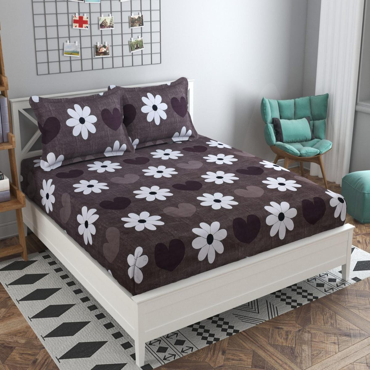 Adirav - Brown Colored Printed Glace Cotton Double Bedsheet With 2 Pillow Cover
