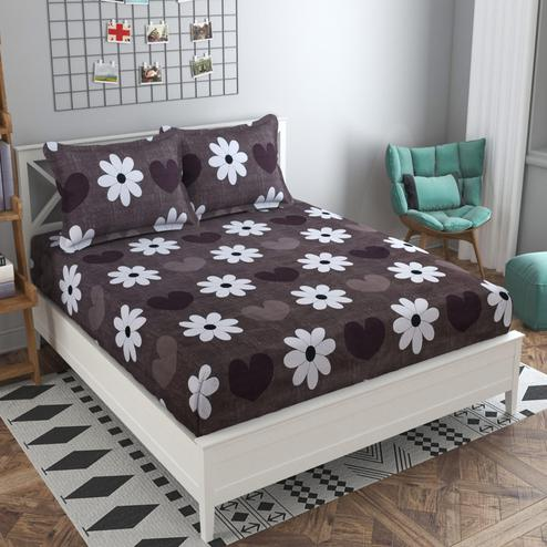 Adirav - Brown Colored Printed Glace Cotton Fitted Double Bedsheet With 2 Pillow Cover
