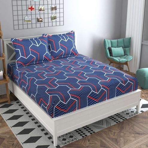 Adirav - Blue Colored Printed Glace Cotton Fitted Double Bedsheet With 2 Pillow Cover