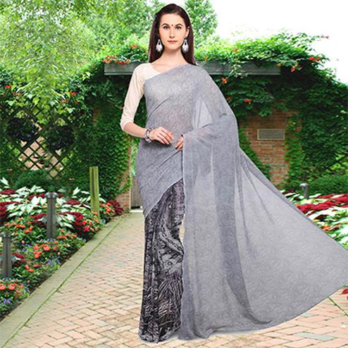 Pretty Gray Colored Half N Half Printed Georgette Saree