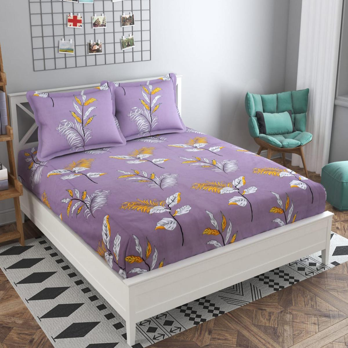 Adirav - Purple Colored Printed Glace Cotton ouble Bedsheet With 2 Pillow Cover