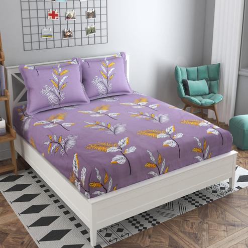 Adirav - Purple Colored Printed Glace Cotton Fitted Double Bedsheet With 2 Pillow Cover