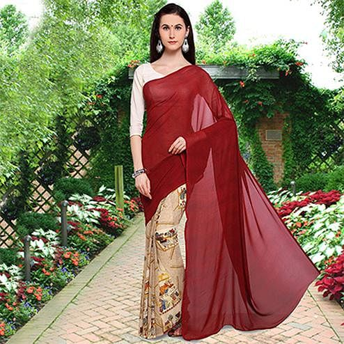 Blooming Maroon-Beige Colored Half N Half Printed Georgette Saree