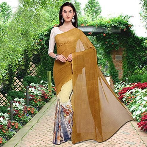 Stunning Ocher Yellow Colored Half N Half Printed Georgette Saree