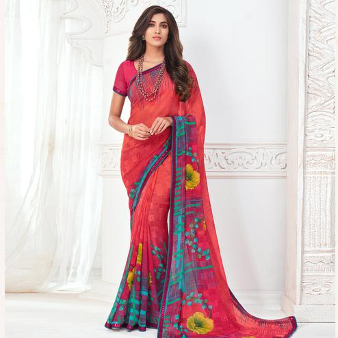 Glorious Red Colored Casual Wear Floral Printed Pure Georgette Saree