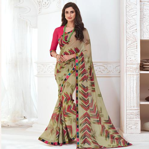 Blooming Olive Green Colored Casual Wear Printed Pure Georgette Saree