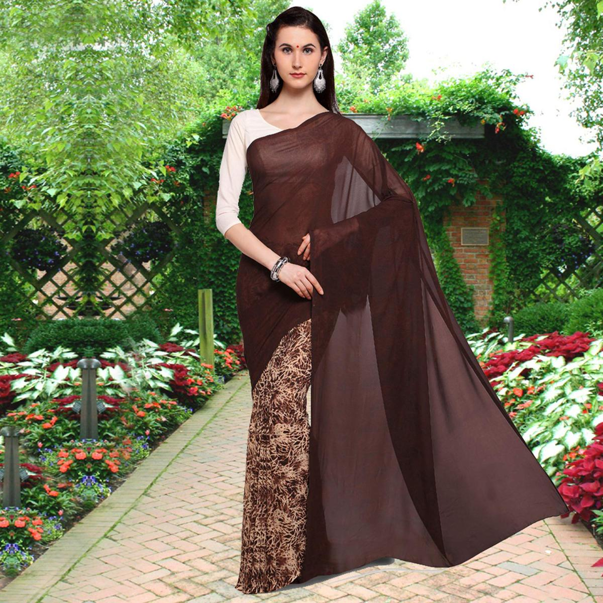 Ravishing Brown Colored Half N Half Printed Georgette Saree