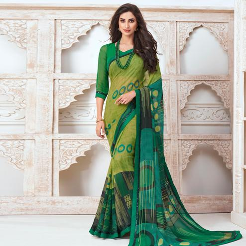 Captivating Green Colored Casual Wear Printed Pure Georgette Saree