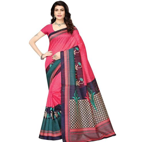 Hypnotic Pink Colored Casual Wear Printed Art Silk Saree